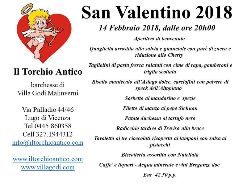 San Valentino 14 Febbraio 2018 dalle ore 20.00
